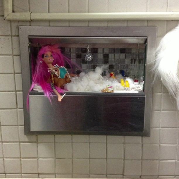 sharonbutler: Barbie in the ladies room @SUNY_Purchase