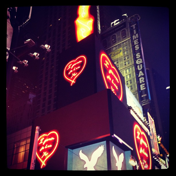 "jeffdtaylor :     ""I promise to love you"" - Tracy Emin (at Times Square)"