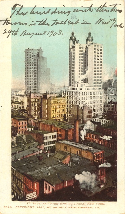 "bad-postcards :          ""The building with the two towers is the tallest in New York. 29th August 1903.""  St. Paul and Park Row Buildings, New York       ____________      GREETINGS FROM THE CITY OF NEW YORK    Exhibit at   The City Reliquary   February 15 through April 28, 2013   Opening night reception with slide show on Friday.   Curated by your  BAD POSTCARDS  blogger who also collects  New York City  postcards.   ____________   Before March 1907, any handwritten messages on a postcard were restricted to the image side. By law, the back of the card was reserved for the recipient's name and address only.   The postcards selected for this exhibit were postally used and bear messages that refer to the image or express a sentiment about New York City—sometimes humorous, sometimes evocative.   At one glance you see image with message. You see New York City and its wondrous new marvels (skyscrapers, bridges, subways) through the eyes of its residents and visitors over 100 years ago.         ATTN New Yorkers: this looks like a fun show at a  sweet venue …"