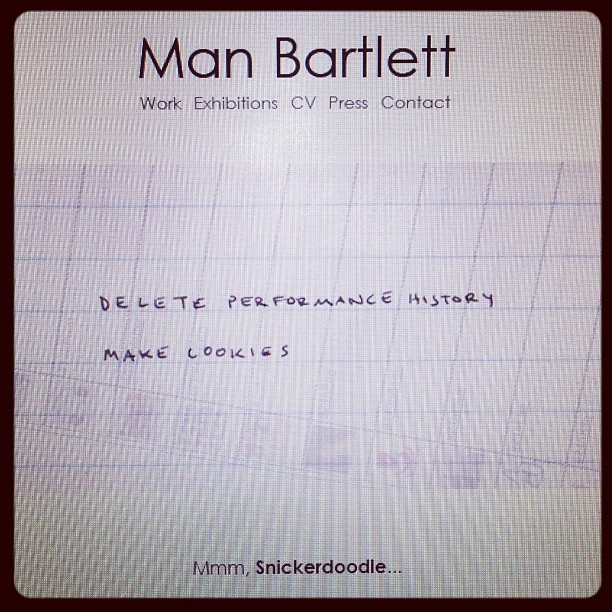 rebeccataylorny: Destroying @manbartlett's performance history #snickerdoodle #baldessari Yo Snickerdoodle is my jam! Thanks RT! :)
