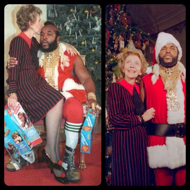 blaxidermy :     ❤ oh, the 80s. Nancy Reagan and SanTa from @mental_floss     !