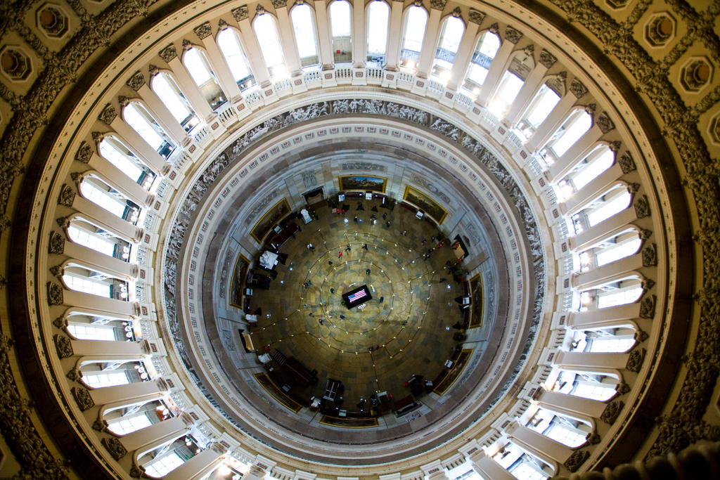 nbcnightlynews :      View from above: Senator Daniel Inouye (D-HI) lies in state in the Capitol Rotunda    Photo: Frank Thorp/NBC News       Amazing photo…