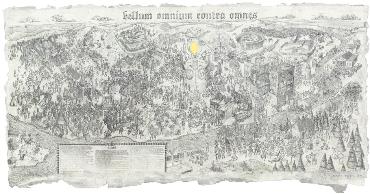 powhida: Bellum Omnium Contra Omnes, William Powhida and Jade Townsend, Graphite on paper, 9' x 5', 2012.  Private Collection.  Exhibited at Poulsen Gallery, DE. Print edition will be available through the artists' galleries.  Click through for high-resolution image.  Epic.