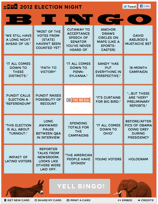 wnyc :     Join us tonight to  watch the results come in  — while  playing Media Bingo  with the gang from  OnTheMedia .      xx
