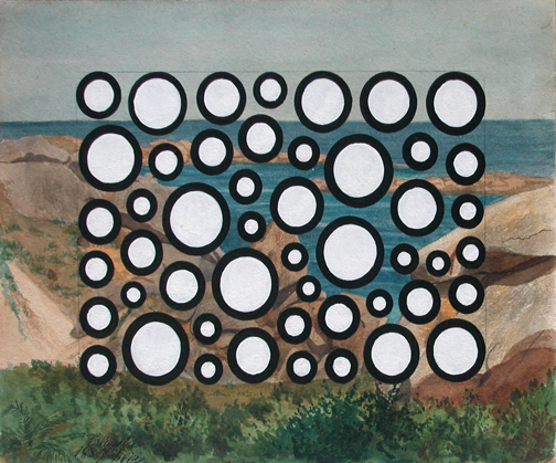 nicoleklagsbrun :          Peter Schuyff    Untitled    gouache on found drawing   2006        circles ! auto-reblog!