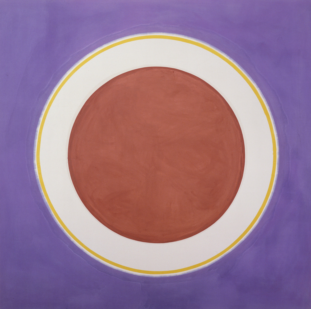 "summerfridays :      Earthen Bound , by Kenneth Noland, 1960.      A few years ago someone told me to look up Kenneth Noland in relationship to the work I was doing then. I did and was interested, but had never seen this one before. I'm guessing whoever made that suggestion had seen this piece of mine (which mine pales in comparison, but you get the idea):    earthbound oil stick and graphite on paper 4""x6"" 2007    In any event that graphite circle would eventually morph into the smaller ink circles you may have seen  around here  before…"