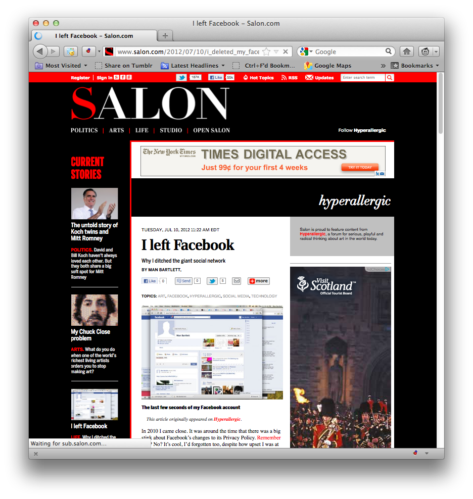 My Hyperallergic essay on why I deleted my Facebook account was picked up by salon.com. Not gonna lie, I'm a little giddy. Salon is like, original Internet.