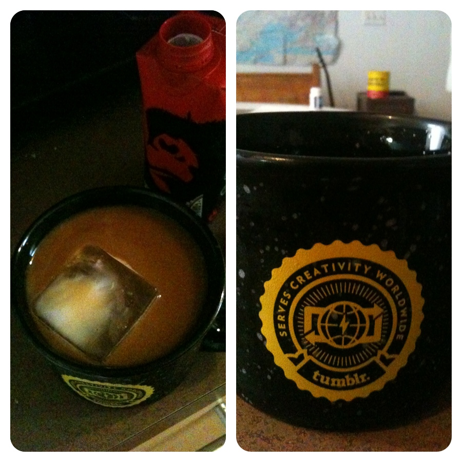 Breakfast! (Gorilla cold brew, square ice with attempted abstract milk art, appropriated tumblr mug)