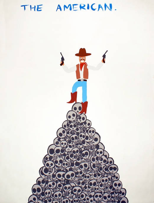 "hyperallergic :     Jayson Musson, ""The American"" (2010), tempera on paper, 30 x 40 inches (via  The Problem with Hennessy Youngman )     It's really important to know when *not* to listen/trust critics. Jayson, IMHO I'd say this article is one of those times. Keep on rocking it dude. However the fuck you want."