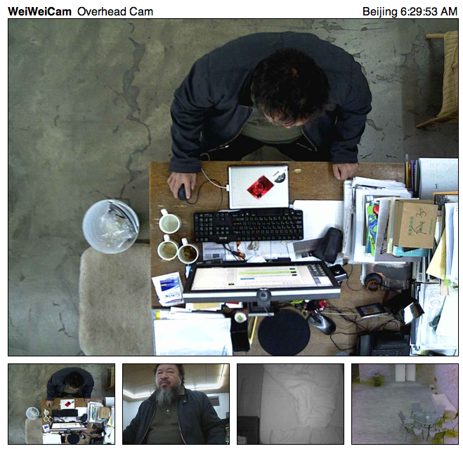 Man, @aiww gets up EARLY!  Studio cams chez Weiwei live now… via…everybody…