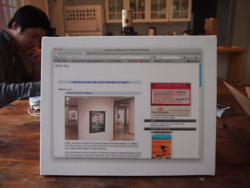 "Reconciliation (after  @gregorg  after  thompson  after  allen  [maybe])…   CanvasPeople ® probably non-archival inkjet print on canvas  11"" x 14""  2012  Signed Edition of 1 (+ infinite unsigned APs)  ~$____.00?    Inspired by  this tweet  I took a screengrab and further pixelated everything  but  the image from Google Museum View. Then emailed it off to be printed onto a canvas in the GREAT US of A (after using a Google Offers coupon for $27). Shown here with wine bottle prop cork and actual  artist  working in the background for scale.   Also, in theory a *real* oil canvas of the same image is being worked on in China that I ordered Jan 8. I have a deposit down on it but suspect I've been scammed. I'm hoping this is the case. Details to follow…   Speaking of  details …"