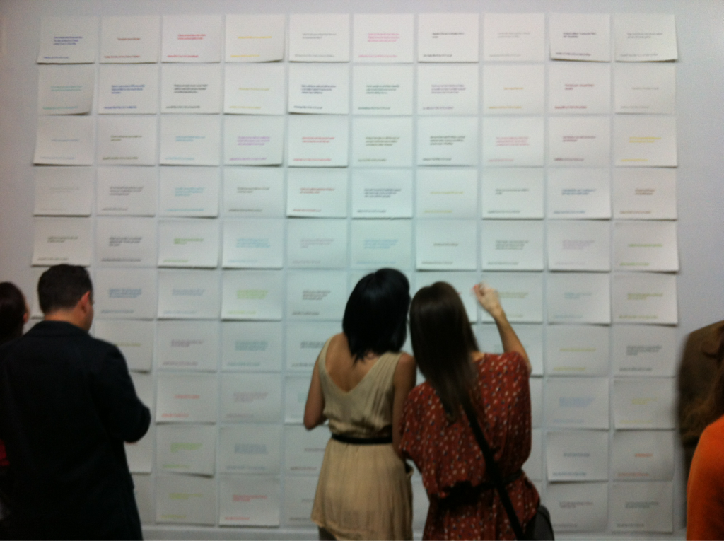 hyperallergic: A view of @black_von's #100tweets project at @DUMBOartcenter. http://www.dumboartscenter.org/100Tweets.html