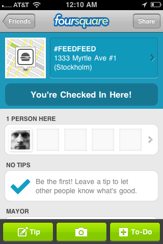 "If you check in to #FEEDFEED on foursquare tonight, be sure show it to the mayor for a high five. It'll be rad. Also upload pics of ur fav Internet-themed dishes! Or take semi-awkward  pics of ur besties. Or ambient ""crowd"" shots. And above all, be sure to apply the right Instagram/Hipstamatic filter! :D     …Was being both tongue in cheek and totally serious btw. Xoxo    #FEEDFEED  Friday Sep 16   9pm-Midnight   1333 Myrtle Ave #1   http://portalforvideo.com"