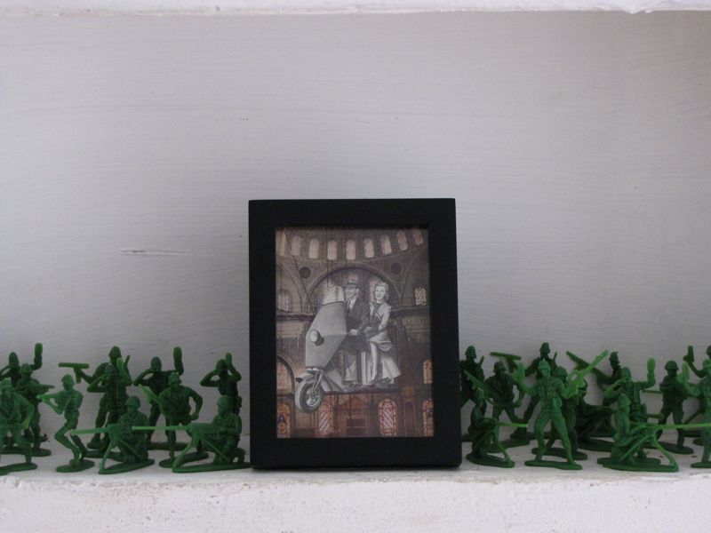 sprucing up around the apartment (aka procrastinating). this little nook by the front door was just begging for a bunch of little army men and a mini collage of a vintage couple on a scooter floating through a turkish cathedral…