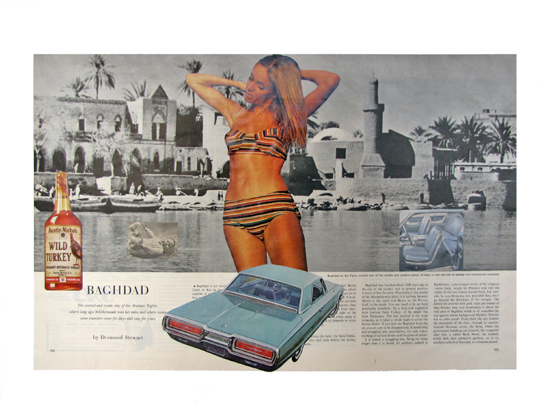 "our lady of baghdad  collage  18""x24""  2011  from the ""consumables"" series."