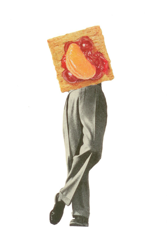 "triscuitman collage 7""x5"" 2011  from the ""consumables"" series."