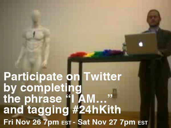 "Oh this is me! I am happening now!  xx, Man    hyperallergic :      WATCH LIVE NOW at  manbartlett.com/kithandkin     This performance was created as part of his participation in   #TheSocialGraph   and his residency at  Hyperallergic HQ  in Williamsburg, Brooklyn during the month of November. For more information on his work, ""Kith and Kin"" (2010) visit  here ."