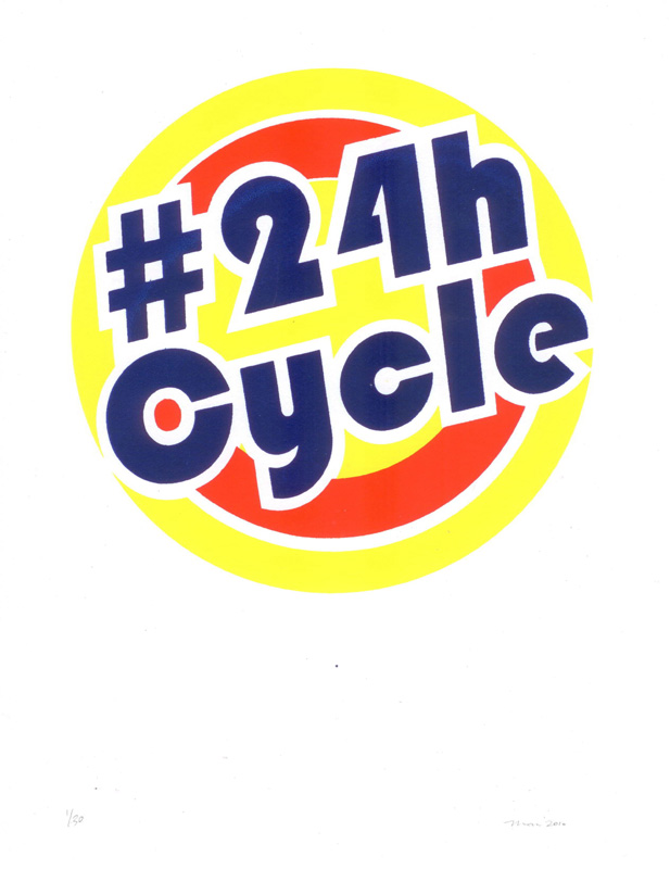 "Thx Hyperallergic! hyperallergic: Man Bartlett, ""#24hCycle"" (2010), screenprint on cover stock, ed. of 30, $20 Bartlett uses this prints to fund his popular social media-reliant performance pieces, which have taken place at the 2010 Whitney Biennial, the ""#class"" exhibition, Flux Factory and elsewhere."