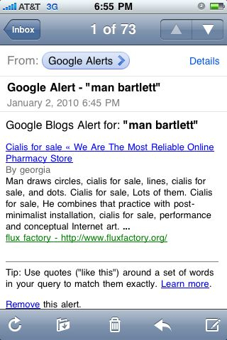 That was fast.    I was added to the Flux Factory website today and the Google bots already found me. Although somehow Cialis got involved too…    There is no mention of that spam-friendly drug here, however:  http://www.fluxfactory.org/man-bartlett/