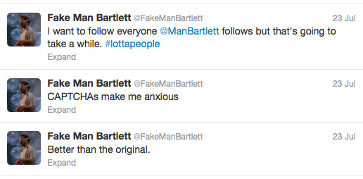 Screenshot of @FakeManBartlett, July 2012