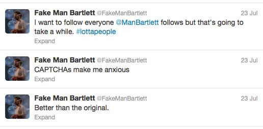 Screenshot of @FakeManBartlett, July 2012