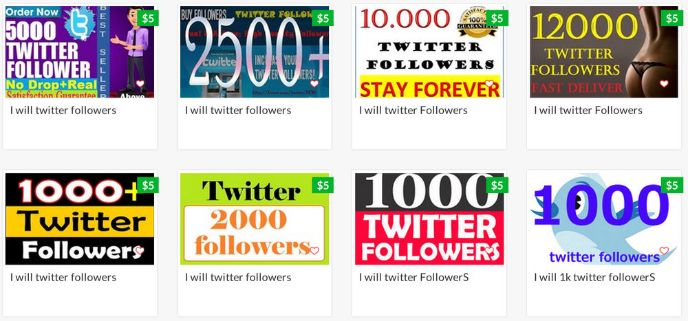 "Screengrab of a search on fiverr.com for ""twitter followers,"" 2014"
