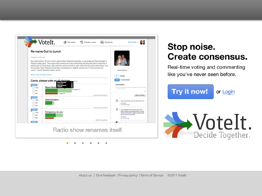 This was one concept of many to act as a clear landing page when entering VoteIt for the first time.