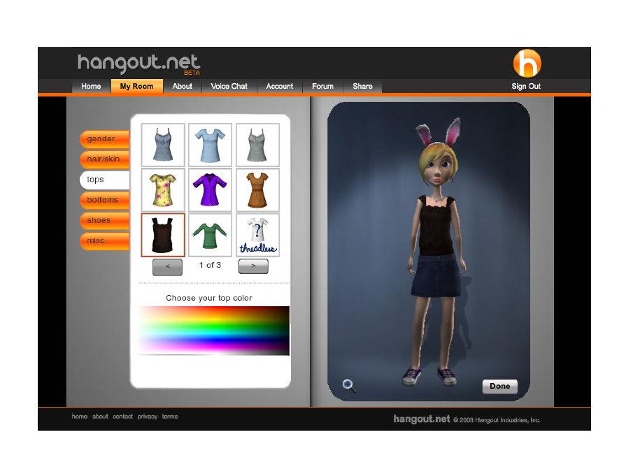 Hangout.net / 2007-2009  Senior Director UX
