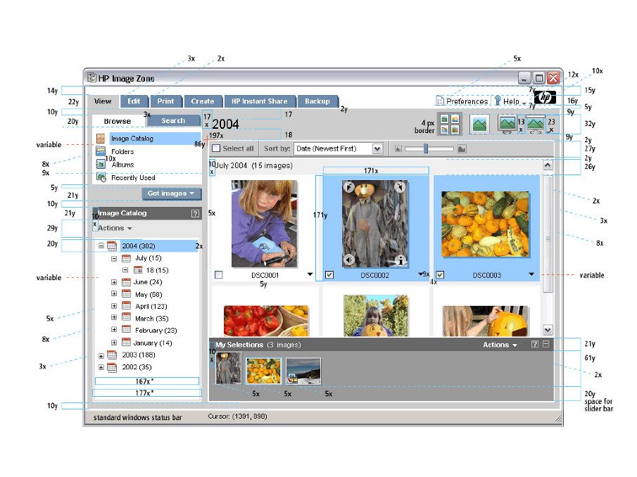 After I designed and launched Image Zone Express I was hired to help redesign the Image Zone app that shipped internationally with all printers, scanners, faxes and cameras. This was in conjunction with Frog Design's new branding and iconography for HP. This is an example of the level of detail I had to go through specifying the designs.