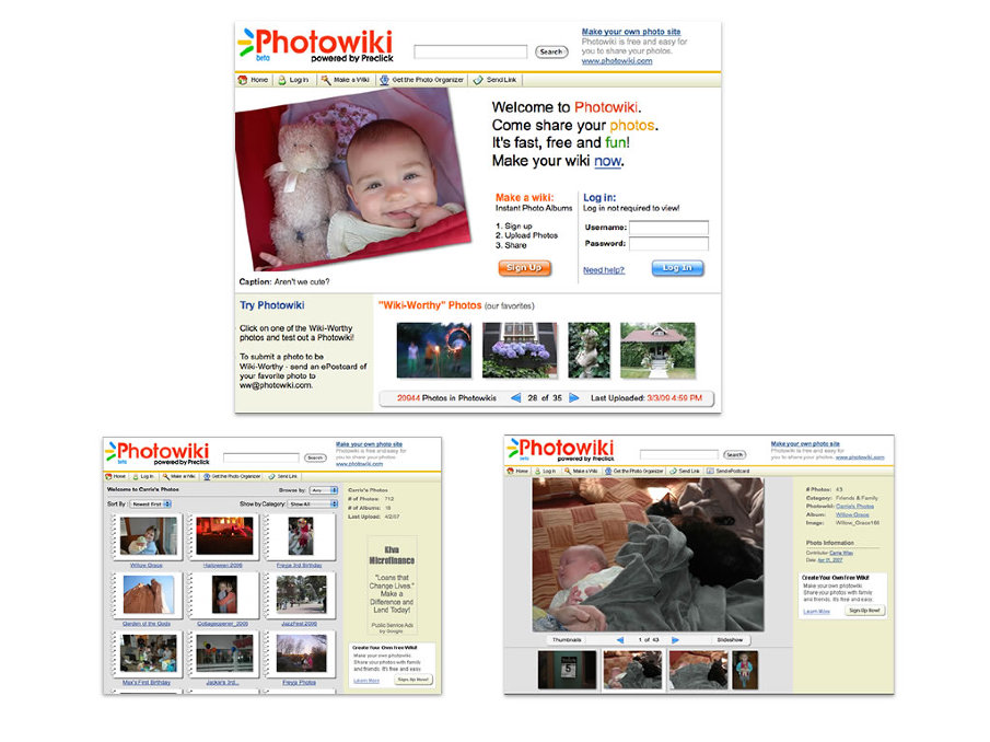 PhotoWiki - I worked on a redesign of PhotoWiki which was one of the first photo sharing sites available.