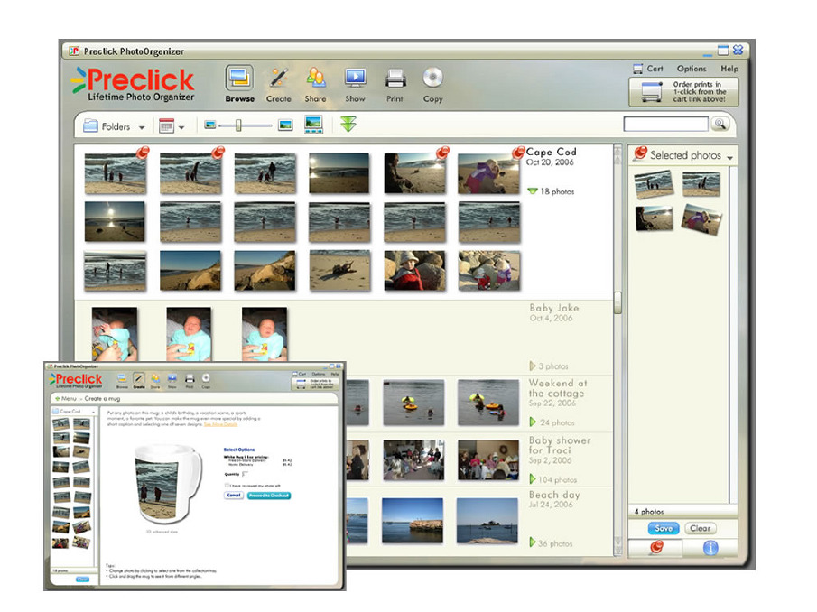 Preclick powered the HP Image Zone Express photo organizer which I worked on previous to joining Preclick full time. We were able to offer up-sell products like PhotoBack a way to backup your photos to CD, PhotoSticky and another product not shown here called PhotoMovieMaker where you could burn a photo slideshow to DVD. This design was the next generation of photo organizer I designed for Preclick.