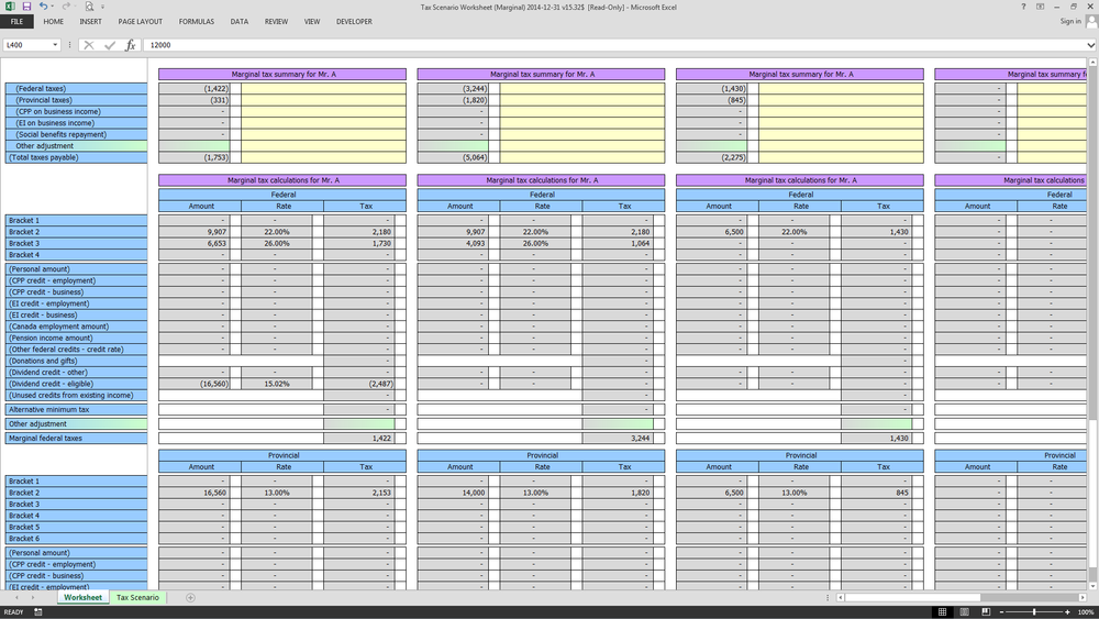Detailed calculations of marginal taxes for each scenario