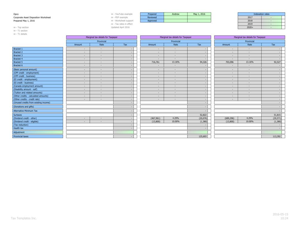Marginal personal provincial tax calculations