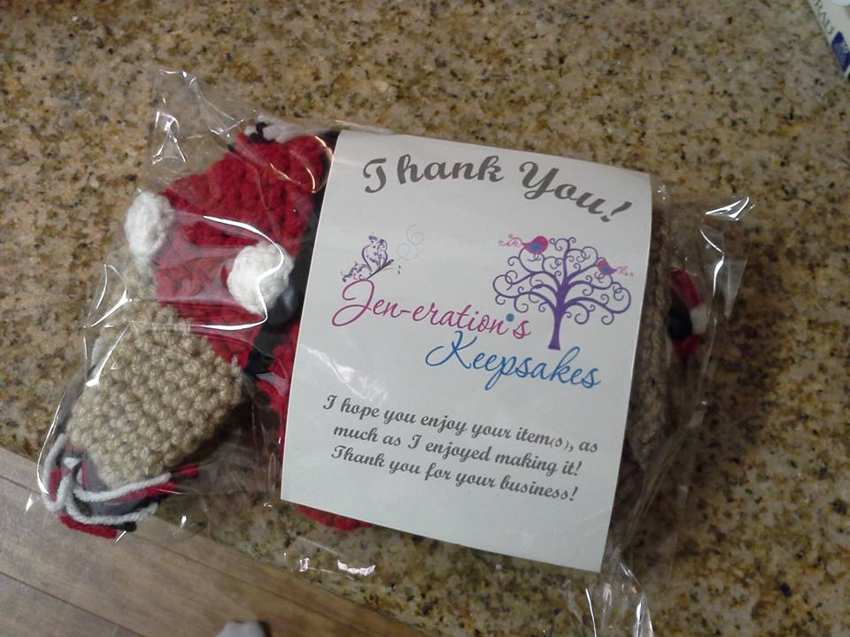 This is what a beanie from Jen-eration's Keepsakes looks like before opening it. As you can see she has put care into the packaging.