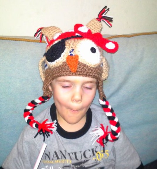 Here is my son wearing our owl/pirate beanie from Jen-eration's Keepsakes.