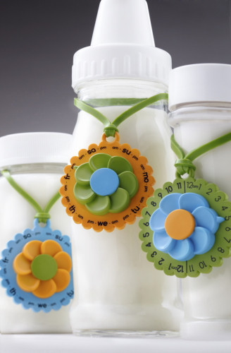 Eepples Milk Charms has a Double sided dial: one side features the days of the week, the other time of day. Works with virtually  any  bottle, Made from food grade polypropylene and silicone, BPA and phthalate free materials, & Dishwasher safe - top rack.
