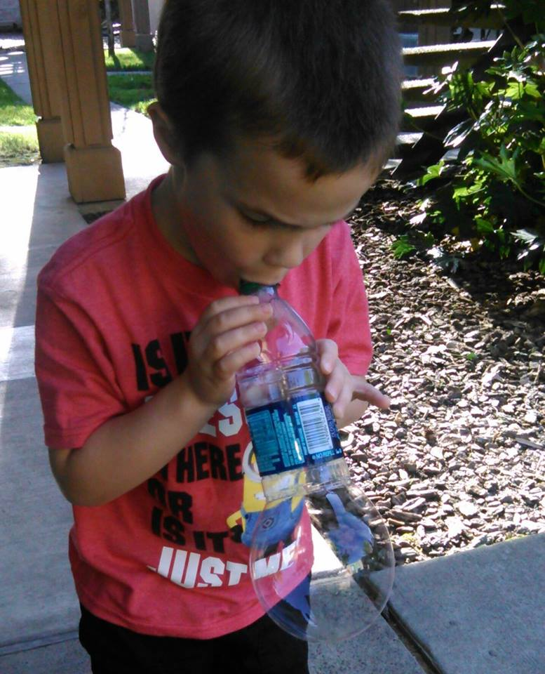 Genius Parenting Hacks- Homemade Bubble blower with water bottle