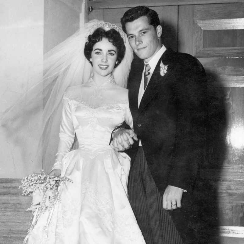 The first of many wedding dresses & husbands for Elizabeth Taylor