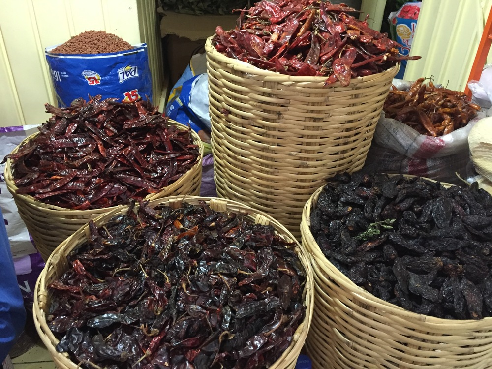 An assortment of dried chiles for molé, on display at La Merced in central Oaxaca City.