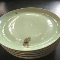 Ted Mueling salad plates (complete with bugs!)