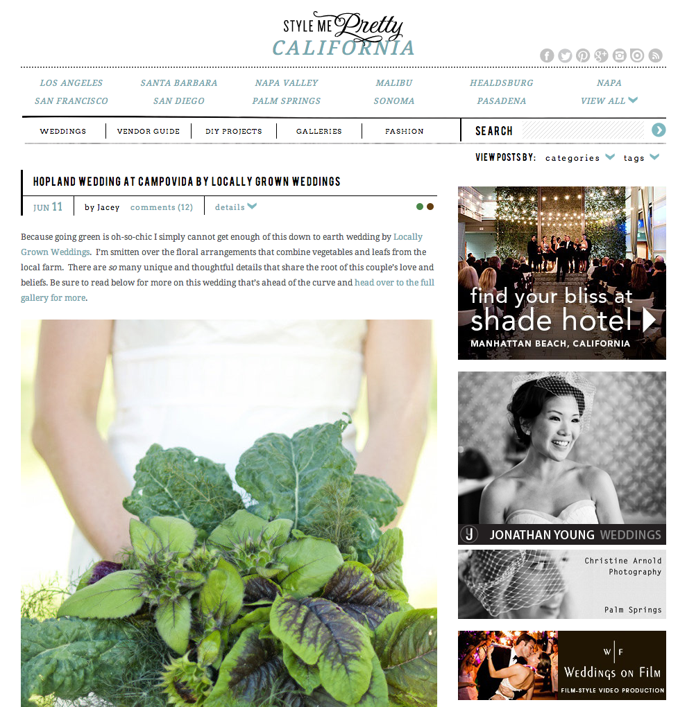 Hopland Wedding at Campovida featured at Style Me Pretty
