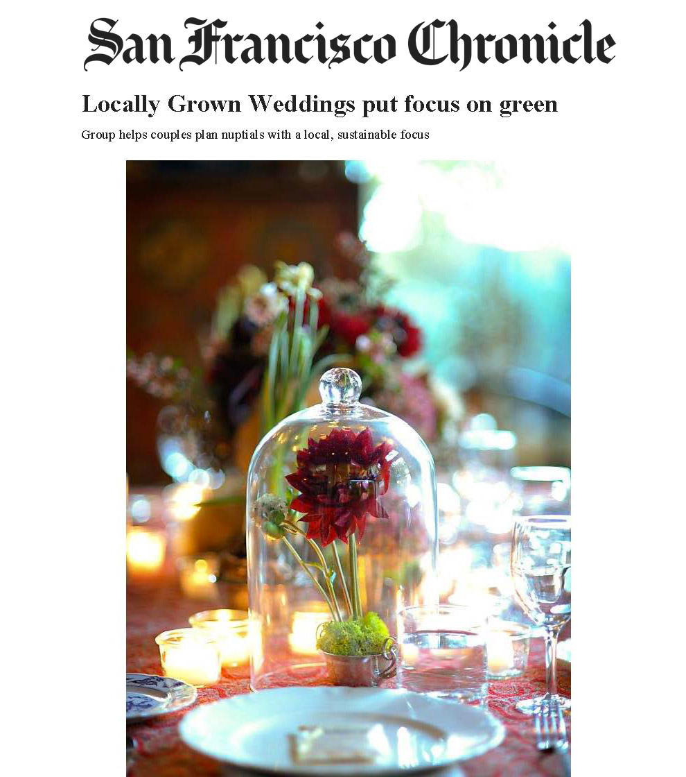 Locally Grown Weddings featured in the San Francisco Chronicle