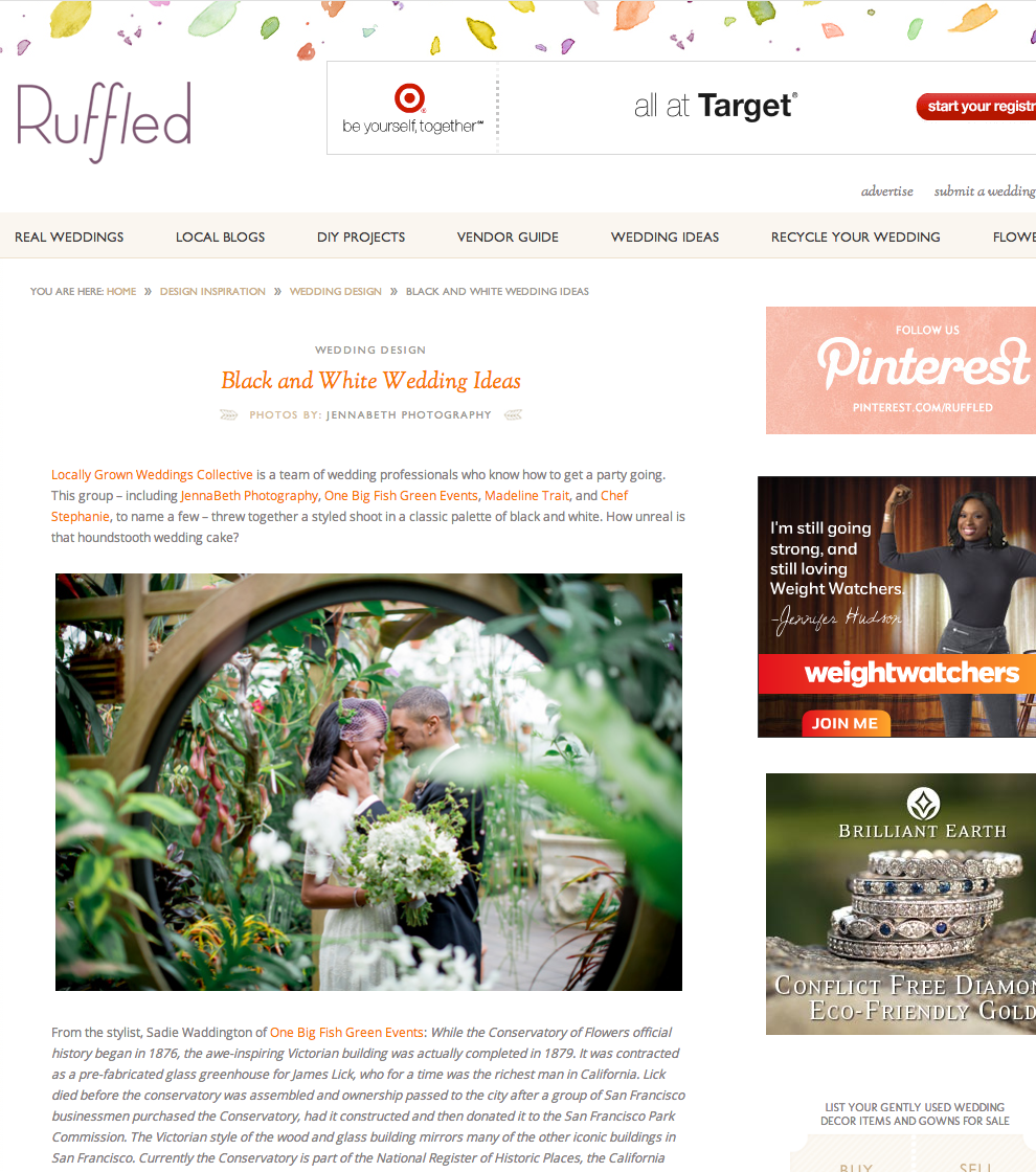 Black & White Wedding Ideas featured on Ruffled
