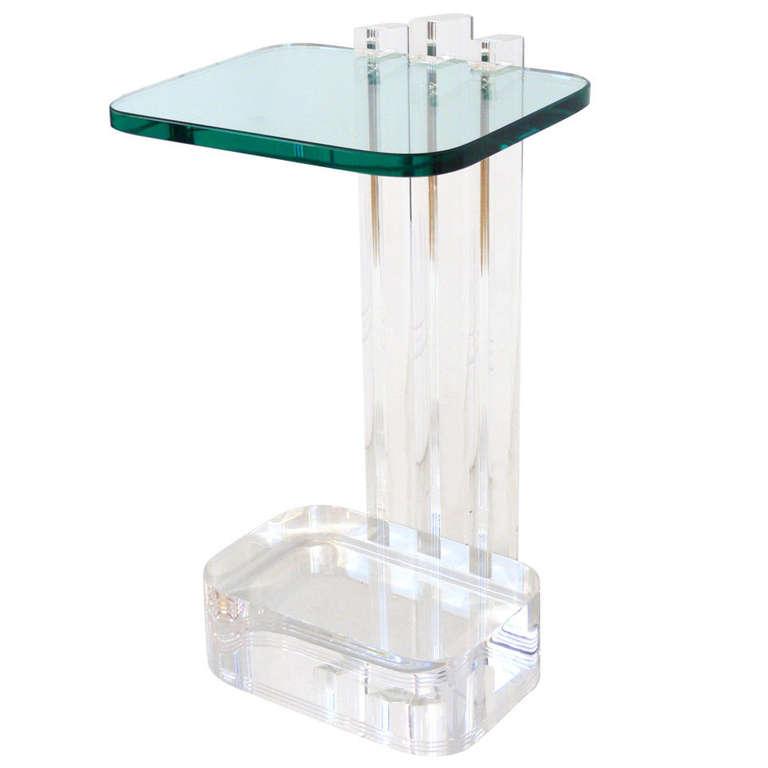 Les Prismatiques Lucite And Glass Side Table
