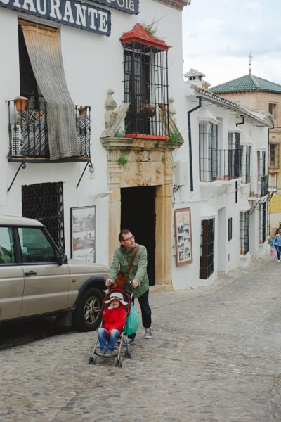 Got to love the cobblestones with a cheap travel stroller!