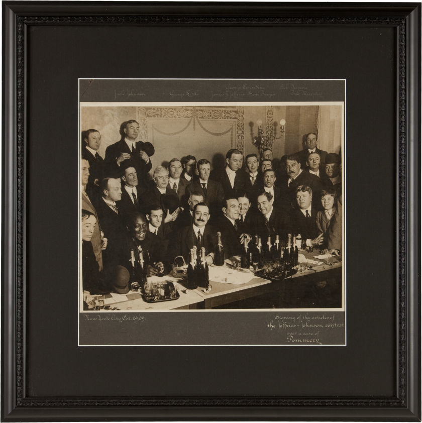 1909 Jack Johnson vs. Jim Jeffries Contract Signing Cabinet Photograph.