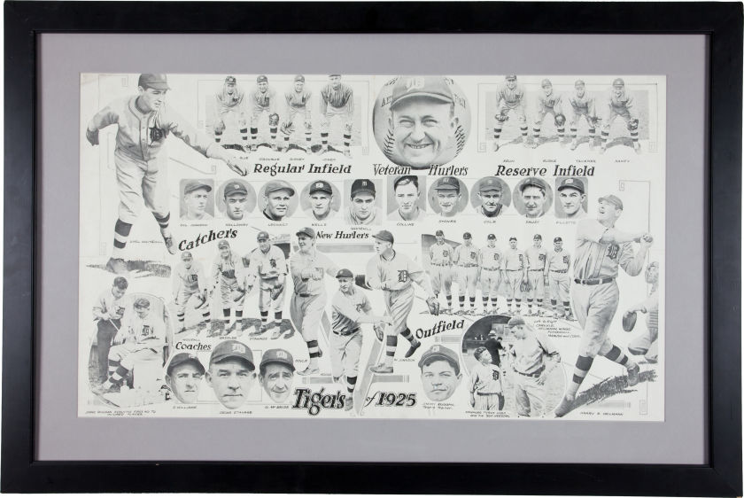 1925 Detroit Tigers Original Photograph Display.