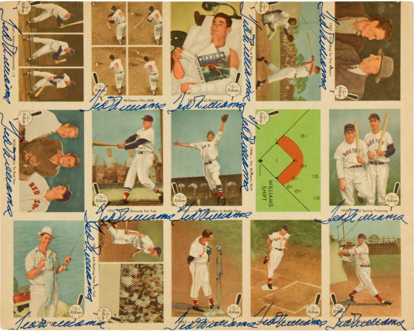 1959 Fleer Ted Williams Uncut Sheet Signed 15 Times.