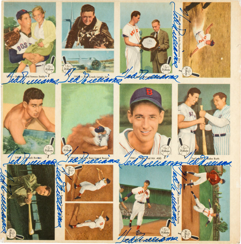 1959 Fleer Ted Williams Uncut Sheet Signed 12 Times.
