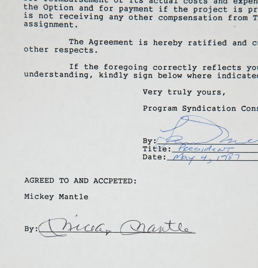 1987 Mickey Mantle Signed Book/Movie Contract.